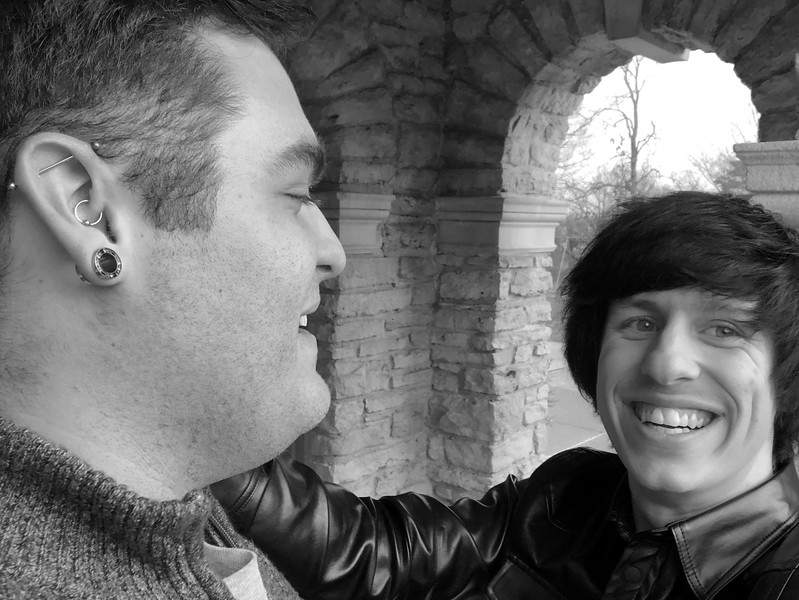 CHRIS AND NATE LOOKING AT EACHOTHER AULT PARK B&W.jpg