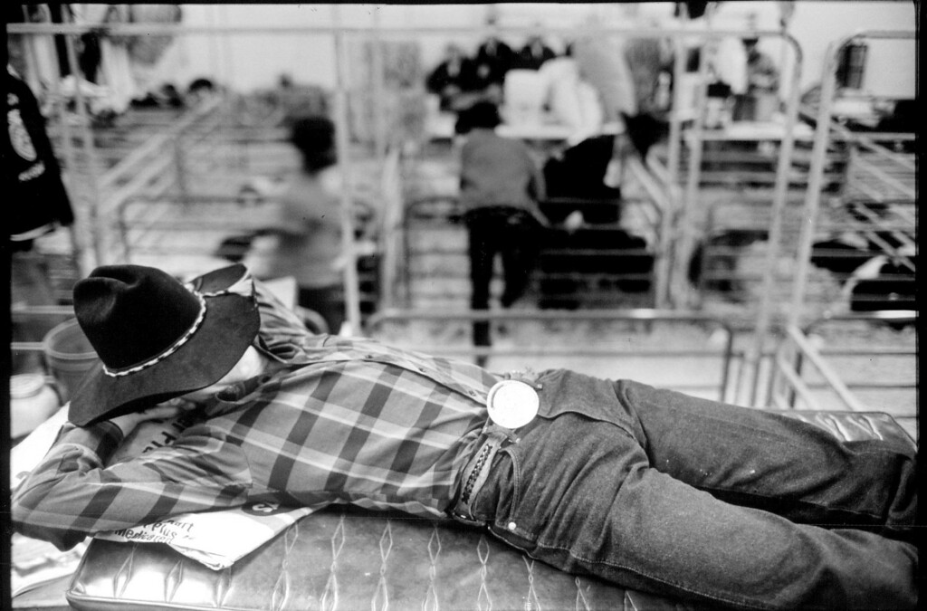 . Andy Nance of Ok. Rests during judging. 1991. Denver Post Library photo archive
