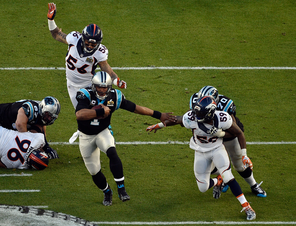 . SANTA CLARA, CA - FEBRUARY 7: Cam Newton (1) of the Carolina Panthers runs the ball in the second quarter.  The Denver Broncos played the Carolina Panthers in Super Bowl 50 at Levi\'s Stadium in Santa Clara, Calif. on February 7, 2016. (Photo by Helen H. Richardson/The Denver Post)