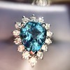 3.30ctw Aquamarine and Diamond Cluster Ring 30