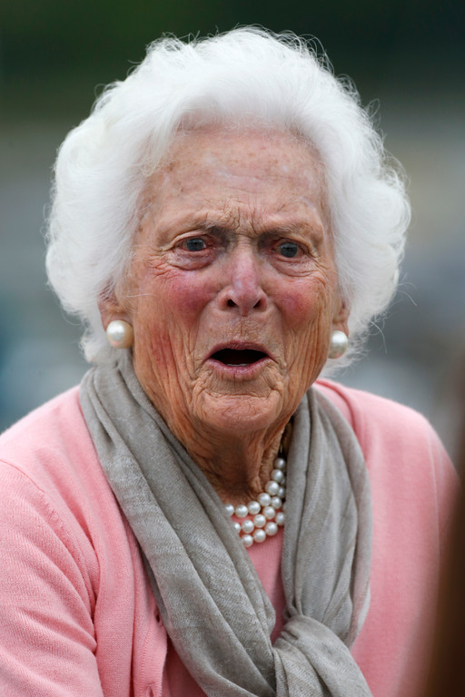 . Former first lady Barbara Bush accepts well wishes on her 90th birthday as she leaves a luncheon at the Kennebunk River Club, Monday, June 8, 2015, in Kennebunkport, Maine. Bush family members, including her son, former Florida Gov. Jeb Bush, who is expected to announce his presidential run next week, are in Kennebunkport for her birthday on Monday. (AP Photo/Robert F. Bukaty)