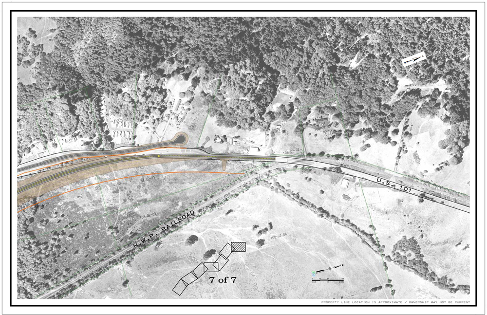 Description of . CalTrans drawing of northern terminus of the Willits bypass project.