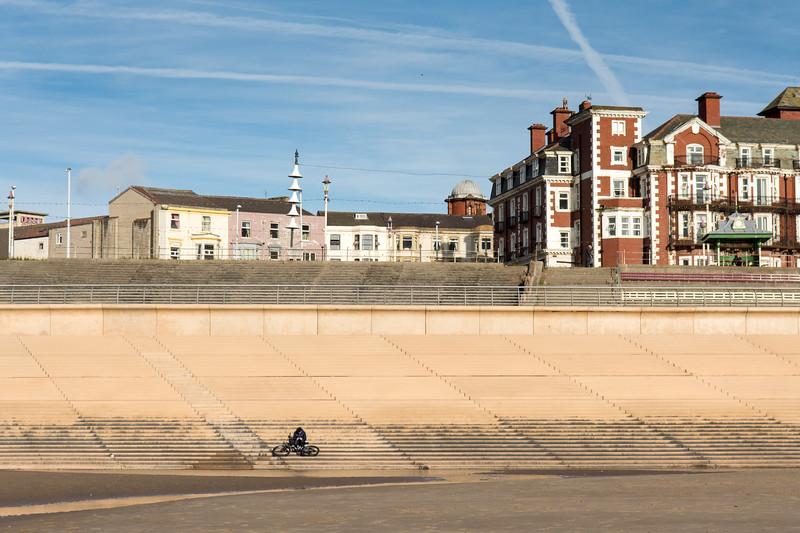 Cyclist on Blackpool Beach
