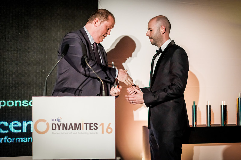 Mark Larsen of Accenture presents the award for Collaborator of the Year to Paul Lancaster of Plan Digital