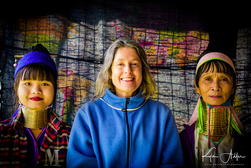 Mary with two women from the Padaung tribe.