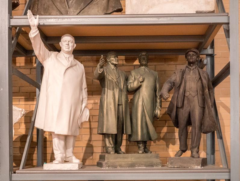 Khrushchev, Lenin, Stalin and Lenin  by  Zair Azgur