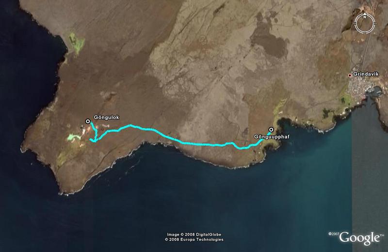 Leiðin séð í með augum Google Earth.   The path as seen in Google Earth