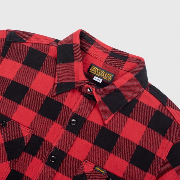 Ultra Heavy Flannel Buffalo Check Work Shirt - Red-Black--5.jpg