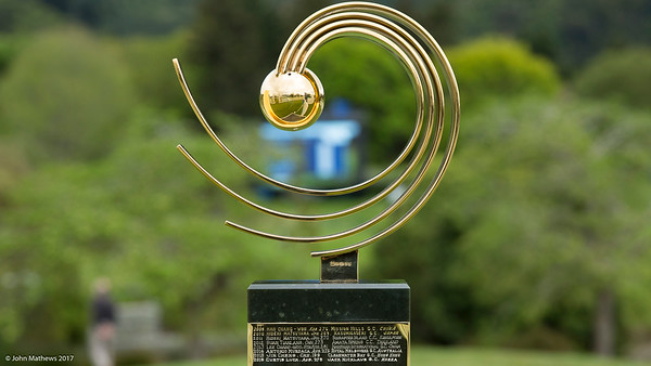 The Asia-Pacific Trophy  on display on the 1st day of competition in the Asia-Pacific Amateur Championship tournament 2017 held at Royal Wellington Golf Club, in Heretaunga, Upper Hutt, New Zealand from 26 - 29 October 2017. Copyright John Mathews 2017.   www.megasportmedia.co.nz