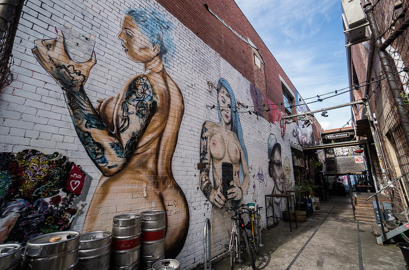 Striking graffiti by controversial Melbourne artist Lush.