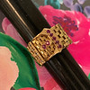 .38ctw Antique Diamond and Ruby Buckle Ring 7