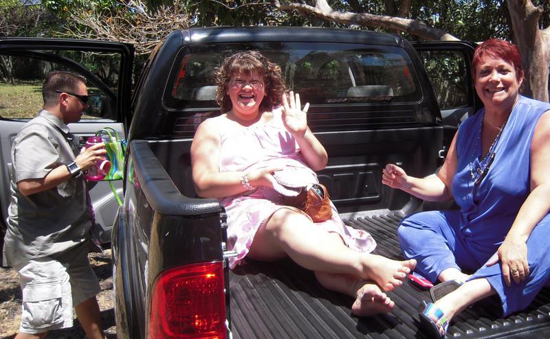 MoeJo, Jasona Rondeau & Vicki Skinner ridin' in the back of MoeJo's big black truck!