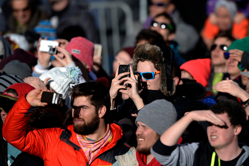 . ASPEN, CO - JANUARY 25: Fans watch the action during the men\'s ski half pipe final. Winter X Games on Sunday, January 25, 2015. (Photo by AAron Ontiveroz/The Denver Post)