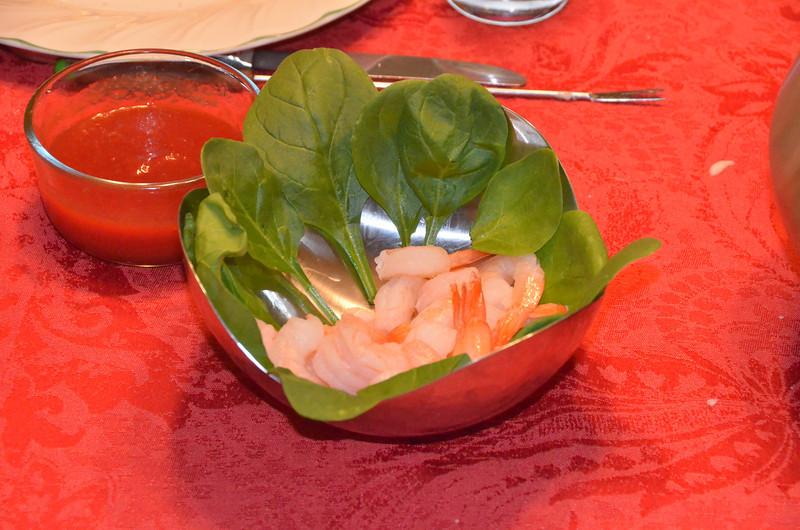 Instead of meatballs Emilie had shrimp