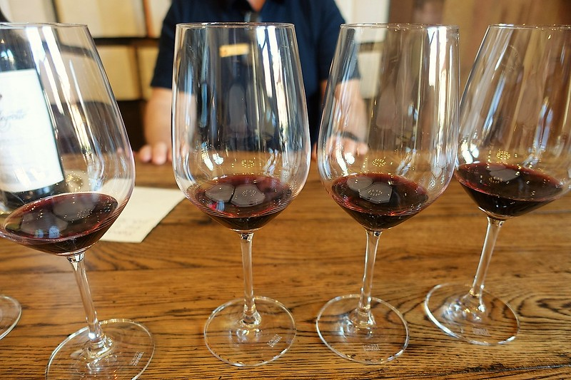 four glasses of wine for a wine tasting