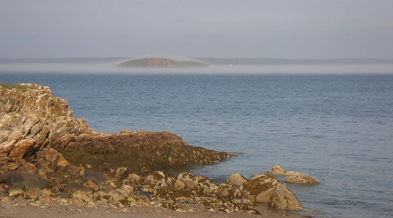 In the afternoon, the fog forms in a very well defined stream right up East Penobscot Bay.