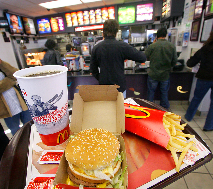 . A Big Mac, Coke and fries are shown at a McDonald\'s Thursday, Oct. 20, 2005 in New York. (AP Photo/Mark Lennihan)