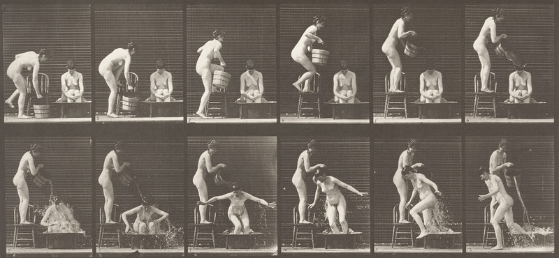 Nude woman pouring a bucket of water over another nude woman (Animal Locomotion, 1887, plate 406)