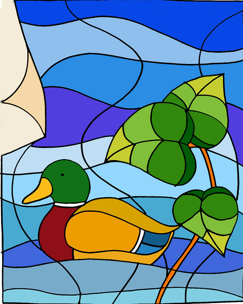 A stained glass panel - with a fat mallard added to the scene. This was sketched in pencil and sharpie, then scanned into photoshop and painted digitally.
