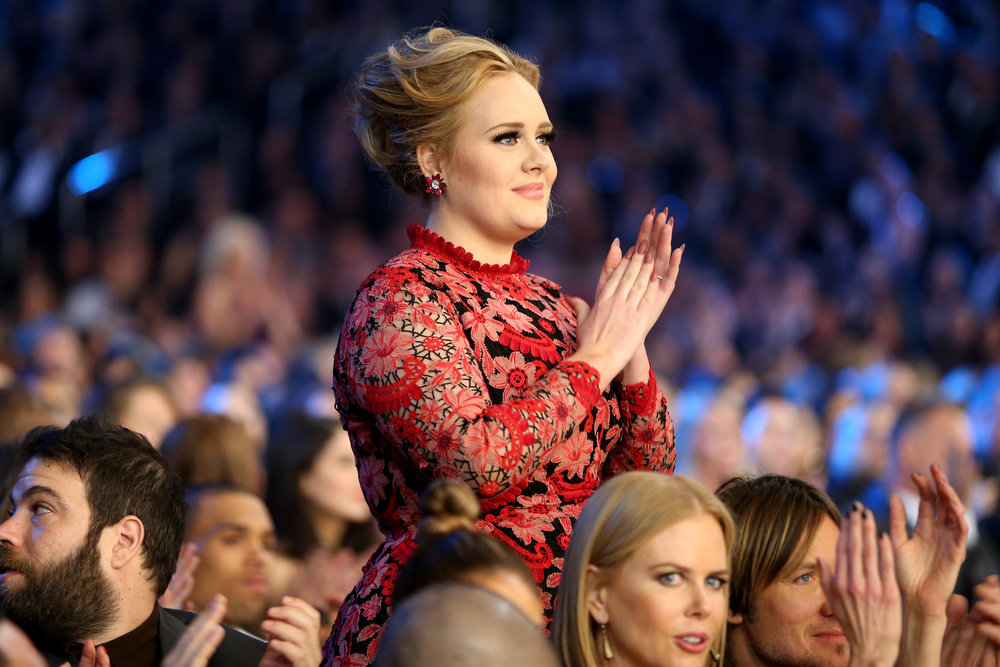 Description of . Singer Adele attends the 55th Annual GRAMMY Awards at STAPLES Center on February 10, 2013 in Los Angeles, California.  (Photo by Christopher Polk/Getty Images for NARAS)
