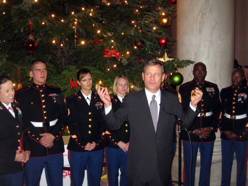 Chief Justice John Roberts welcomes guests and notes the Court's participation in the Toys for Tots program