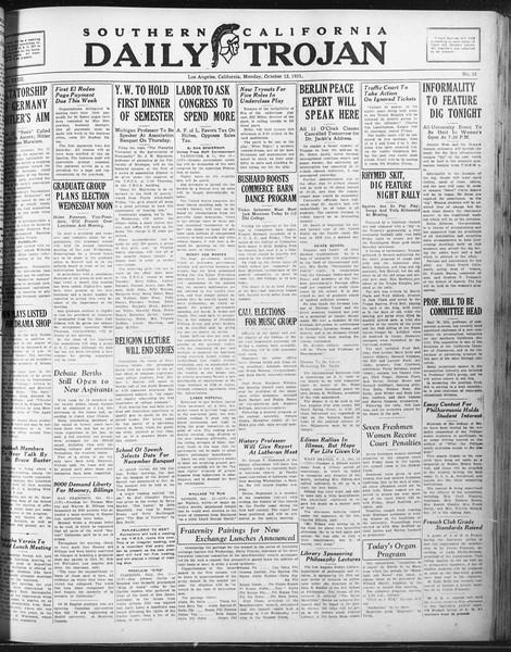 Daily Trojan, Vol. 23, No. 22, October 12, 1931