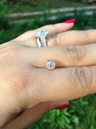 0.66ct Old European Cut Diamond in Milgrained Bezel Pendant Setting