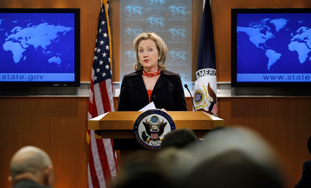 . Secretary of State Hillary Rodham Clinton speaks at the State Department Friday in Washington, April 8, 2011, on the release of the Country Reports on Human Rights Practices for 2010. (AP Photo/Alex Brandon)
