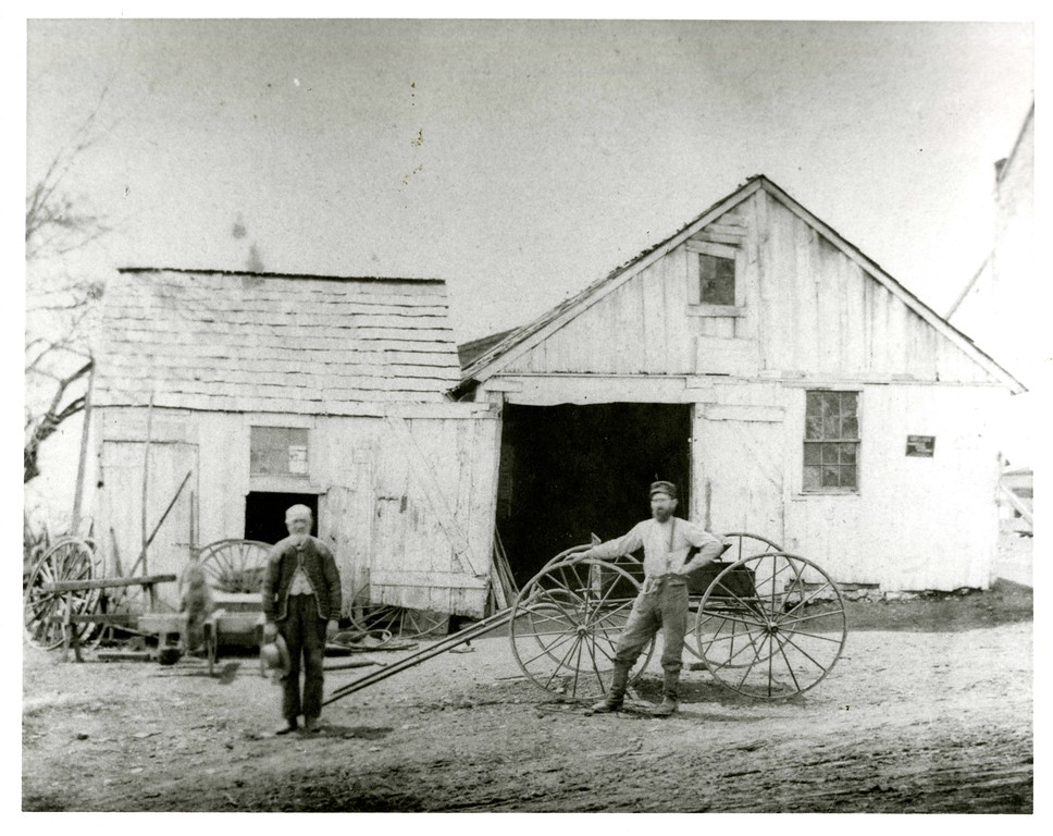. This photo from the Historical Society of Montgomery County shows Andrew Bean, a blacksmith in Fairview Village, Worcester, with his son, also named Andrew Bean, in 1870.