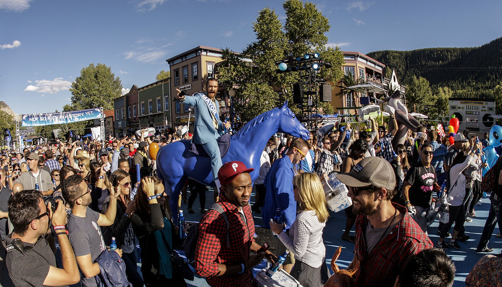 . Guests take in the Whatever Welcome Parade at Bud Light\'s Whatever, USA on September 5, 2014 in Crested Butte, Colorado. (Photo by Nick Tininenko/Getty Images for Bud Light)