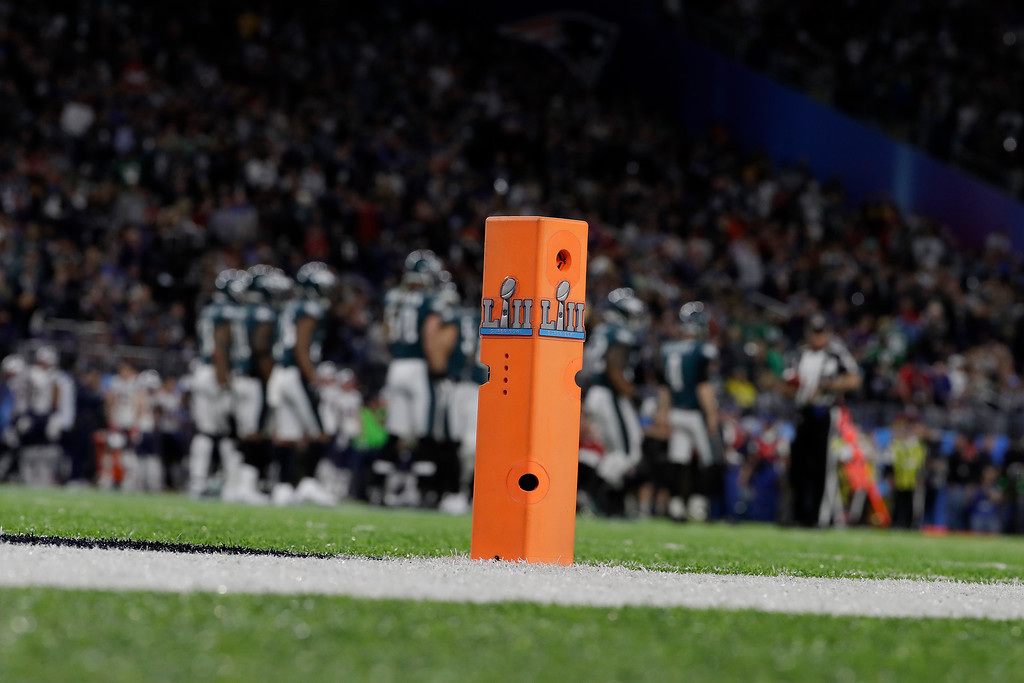 . An end zone pylon is shown during the first half of the NFL Super Bowl 52 football game between the Philadelphia Eagles and the New England Patriots Sunday, Feb. 4, 2018, in Minneapolis. (AP Photo/Matt Slocum)