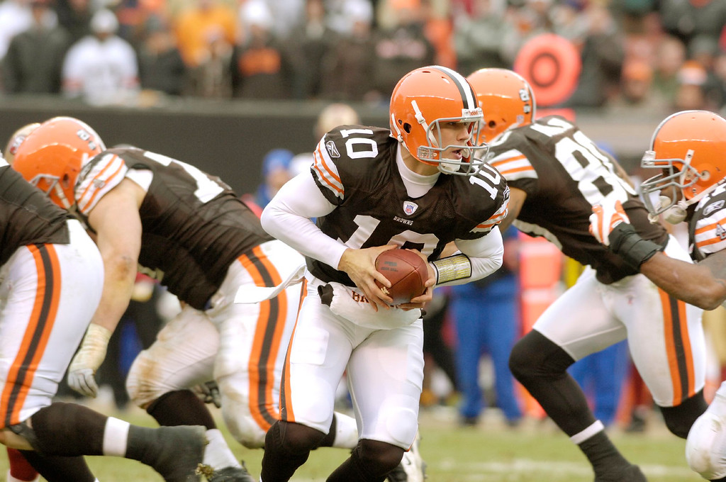 . News-Herald file Browns quarterback Brady Quinn made a brief appearance in the seocnd quarter during the Browns final game of the season Sunday against the 49ers. The drive led to a field goal.