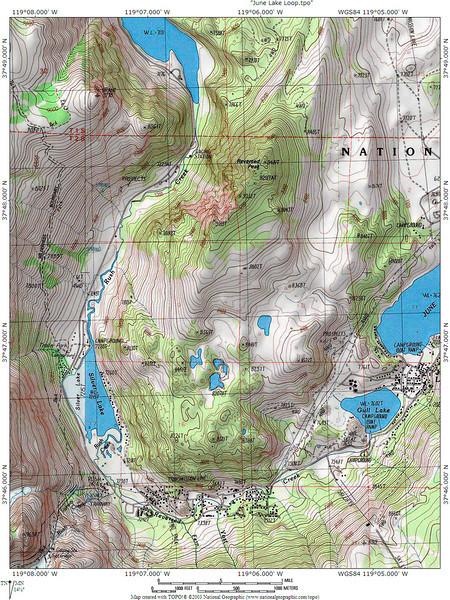 June Lake Loop area topo map.