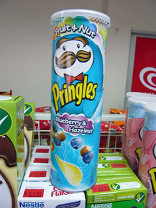 Blueberry & Hazelnut flavored Pringles from Thailand | Courtesy of Roger Wade http://priceoftravel.com