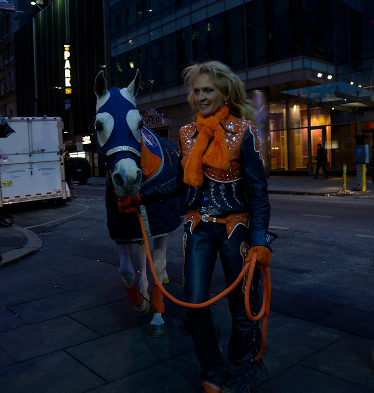 . Rider Annie Wegener leads Thunder to their debut on the Today Show on January 31, 2014, New York, NY. (Photo By Joe Amon/The Denver Post)