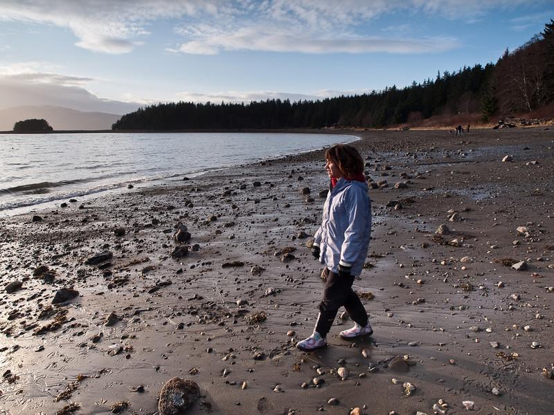 Elia walks the beach at Auke Bay on a gorgeous Thanksgiving day. November 26th, 2009.