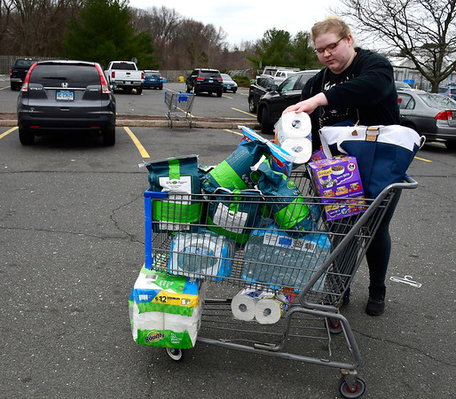 3/12/2020 Mike Orazzi | Staff Catherine Strepek while picking up some cat liter, toilet paper, cat food and paper towels while shopping at the Walmart in Bristol.