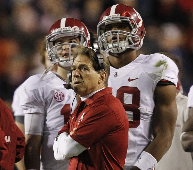 """. <p>1. ALABAMA CRIMSON TIDE <p> Who in their right mind calls for a 57-yard field goal from a kicker who has made ONE field goal in his career? That�s right ... nobody. (unranked) <p><b><a href=\'http://www.twincities.com/sports/ci_24633078/iron-bowl-alabama-auburn-thriller-will-take-while\' target=\""""_blank\""""> HUH?</a></b> <p>    (AP Photo/Butch Dill)  <p>OTHERS RECEIVING VOTES <p> Alec Baldwin, Wisconsin Badgers, Yoko Ono, Jameis Winston, Silvio Berlusconi, Miley Cyrus, Frankie Munoz, Trent Richardson, Lindsey Vonn�s knee, George Zimmerman, Prince William, New York Times� front-page nipple, UPS, Brad Sattin & Patrick Hammer, crabs, Justin Bieber, Richard Pitino, Derrick Williams, Samantha Ponder, Bully the Bulldog. <p> <br><p> Kevin Cusick talks fantasy football, and whatever else comes up, with Bob Sansevere and �The Superstar� Mike Morris on Thursdays on Sports Radio 105 The Ticket. Follow him at <a href=\'http://twitter.com/theloopnow\'>twitter.com/theloopnow</a>."""