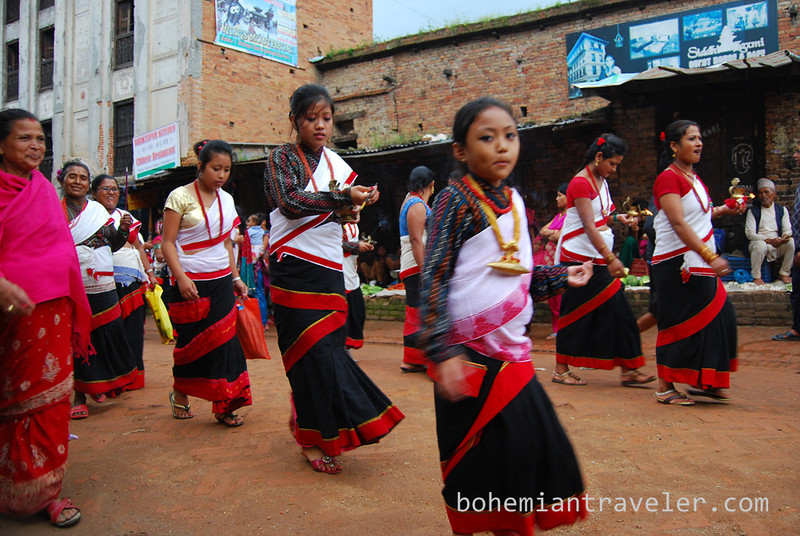 girls at procession in Bhaktapur.