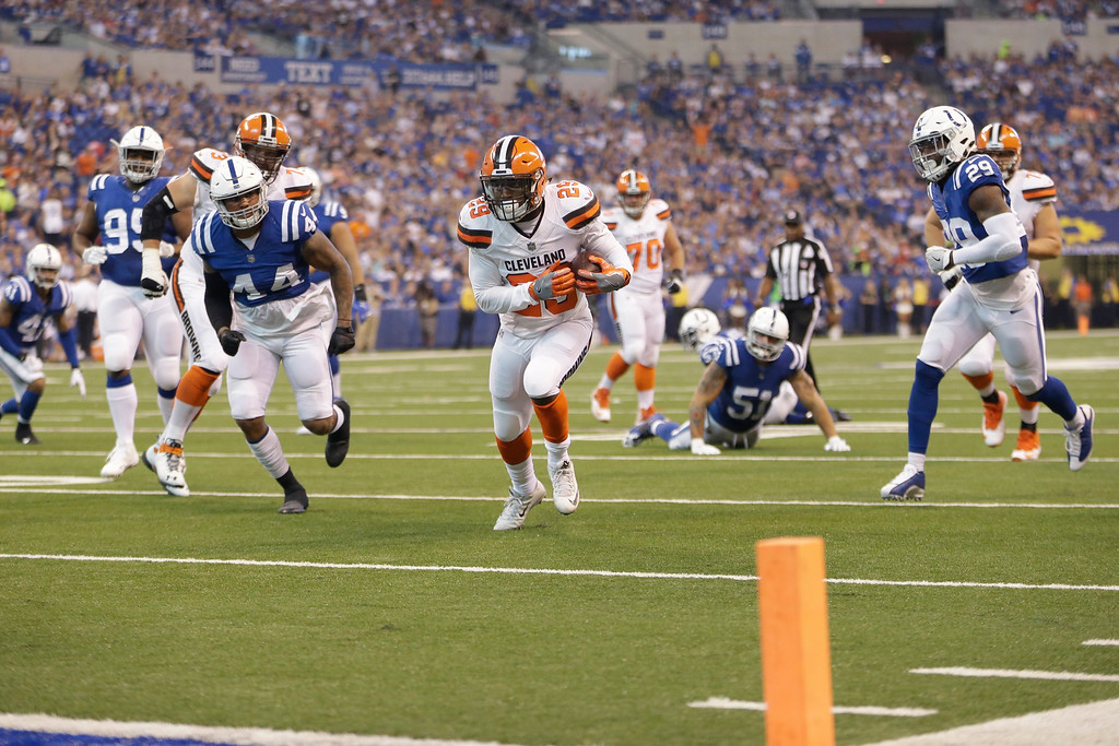 . Cleveland Browns running back Duke Johnson (29) runs for a touchdown against the Indianapolis Colts during the first half of an NFL football game in Indianapolis, Sunday, Sept. 24, 2017. (AP Photo/AJ Mast)