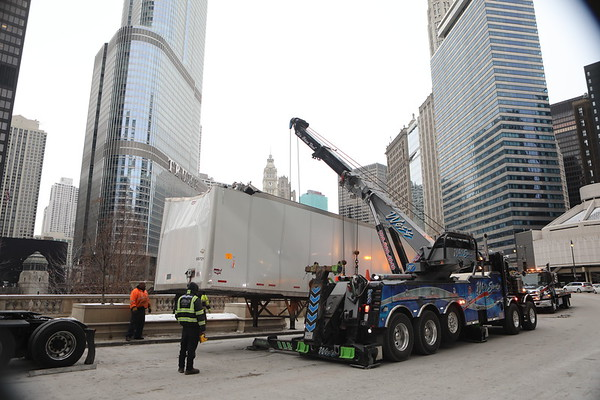 Chicago & Wacker Semi Hit Bridge Wes Towing
