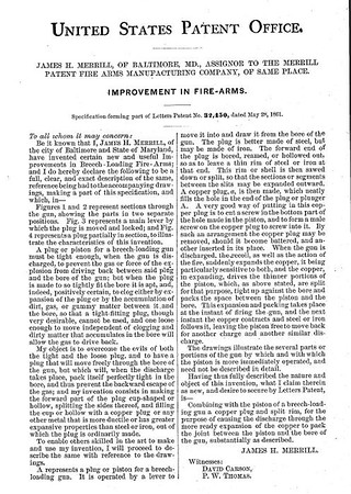 32451 - Improvement in Breech-Loading Firearms, assigned to the Merrill Patent Firearms Mfg Co (March 26, 1861)