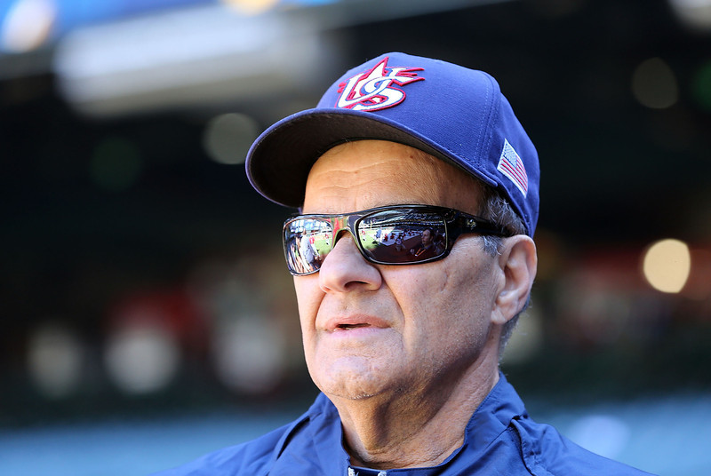 . Manager Joe Torre watches warm ups before the World Baseball Classic First Round Group D game against Canada at Chase Field on March 10, 2013 in Phoenix, Arizona.  (Photo by Christian Petersen/Getty Images)