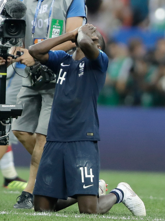 . France\'s Blaise Matuidi celebrates after the final match between France and Croatia at the 2018 soccer World Cup in the Luzhniki Stadium in Moscow, Russia, Sunday, July 15, 2018. (AP Photo/Natacha Pisarenko)