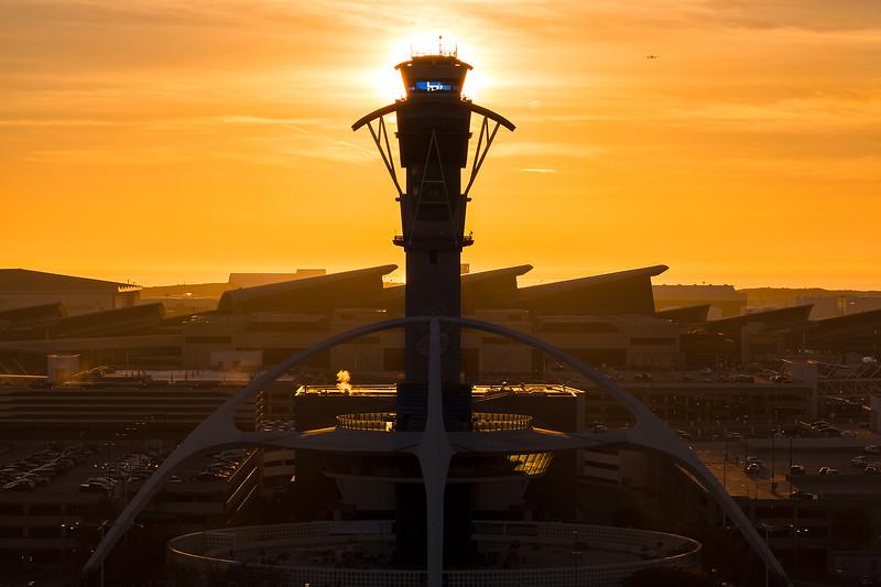 The sun sets over Tom Bradley International Terminal (TBIT).