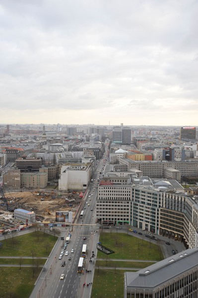 Looking from the Kollhof Building down Leipziger Strasse and old East Berlin.