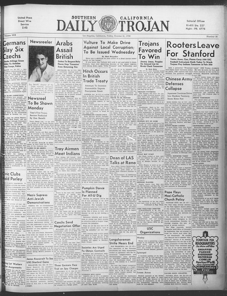 Daily Trojan, Vol. 30, No. 26, October 21, 1938