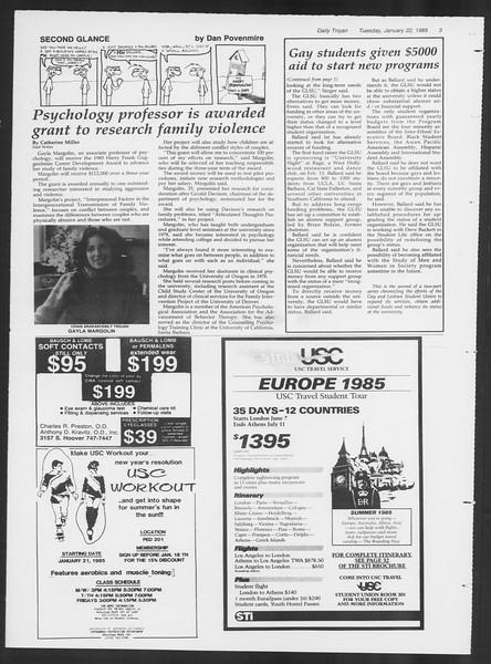 Daily Trojan, Vol. 98, No. 8, January 22, 1985