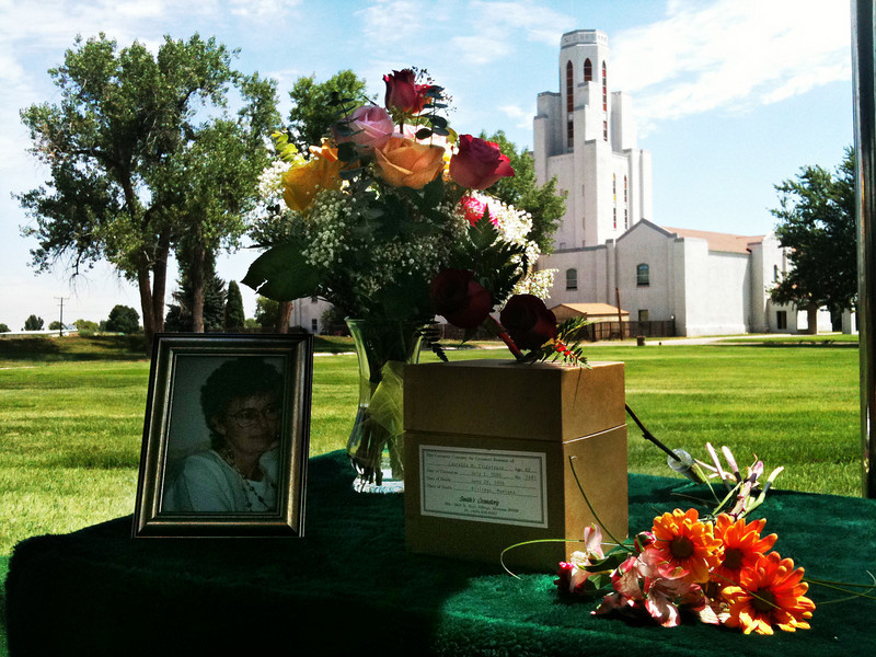 Mom's burial service.