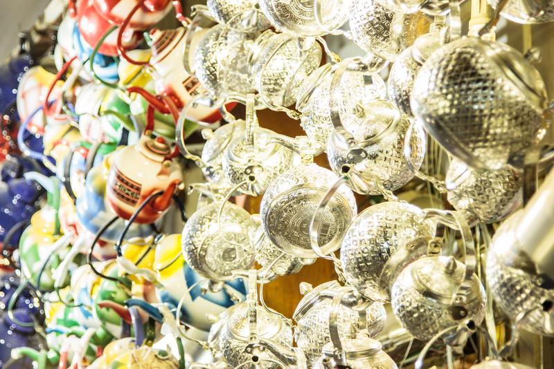 Teapots hang at Souk Al-Mubarakiya